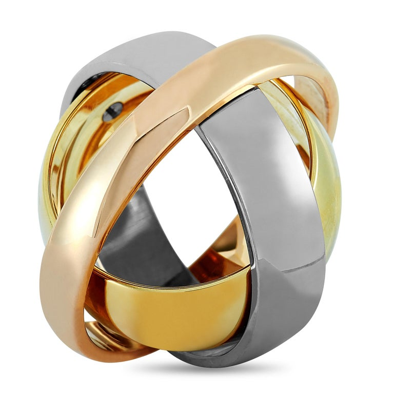 Cartier Trinity 18 Karat Yellow, White, and Rose Gold Ring In Excellent Condition For Sale In Southampton, PA