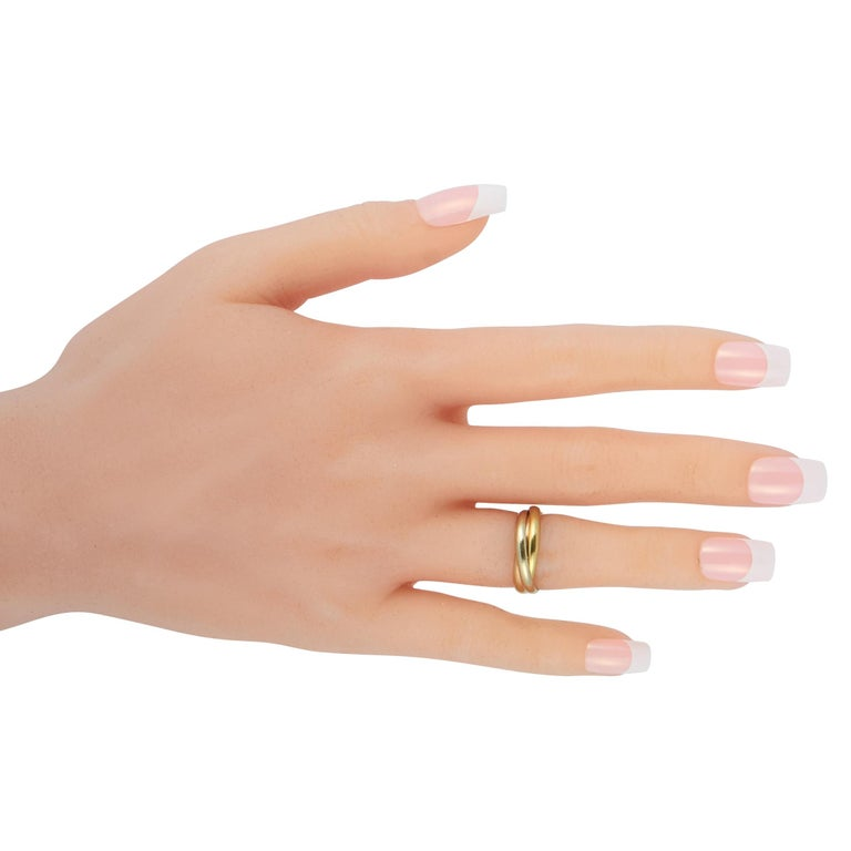Women's Cartier Trinity 18 Karat Yellow, White and Rose Gold Ring For Sale