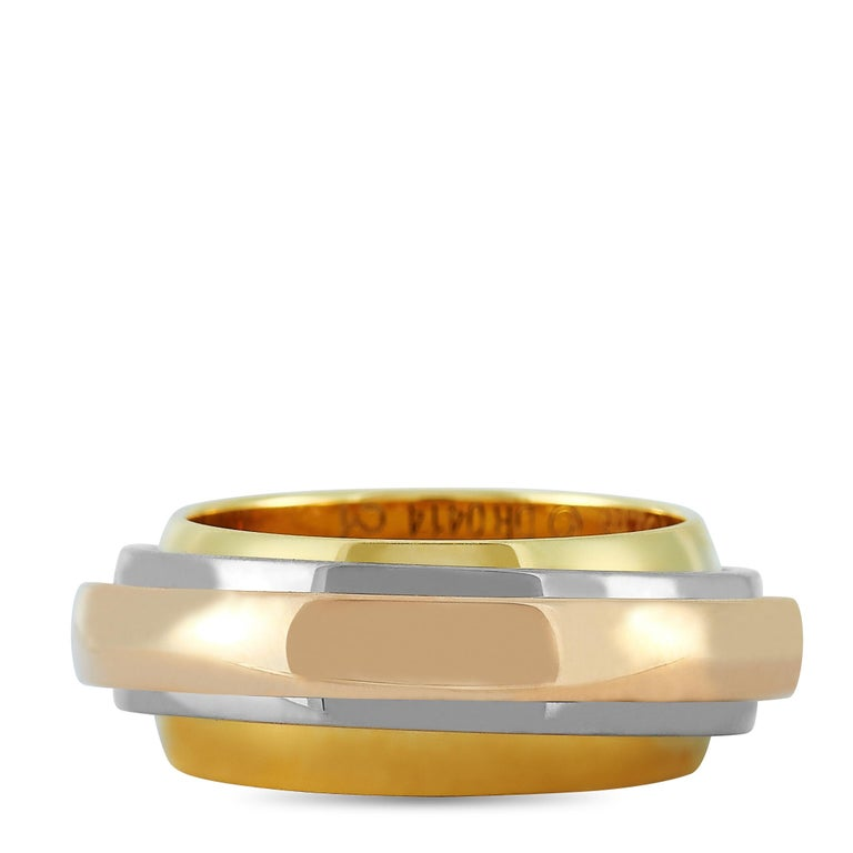 Women's Cartier Trinity 18 Karat Yellow, White, and Rose Gold Ring For Sale