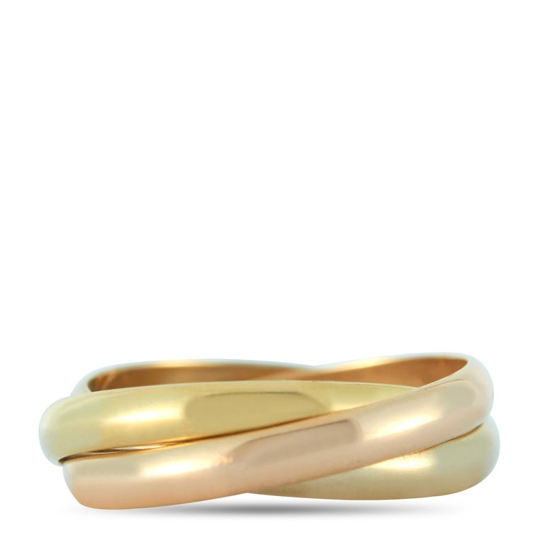 Cartier Trinity 18 Karat Yellow, White and Rose Gold Ring For Sale 1