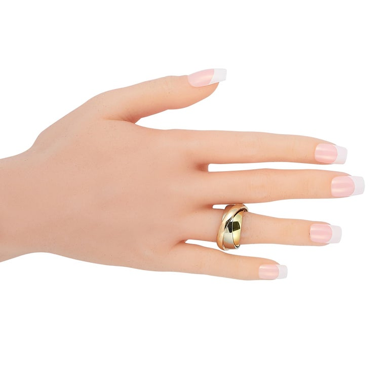 Cartier Trinity 18 Karat Yellow, White, and Rose Gold Ring For Sale 1
