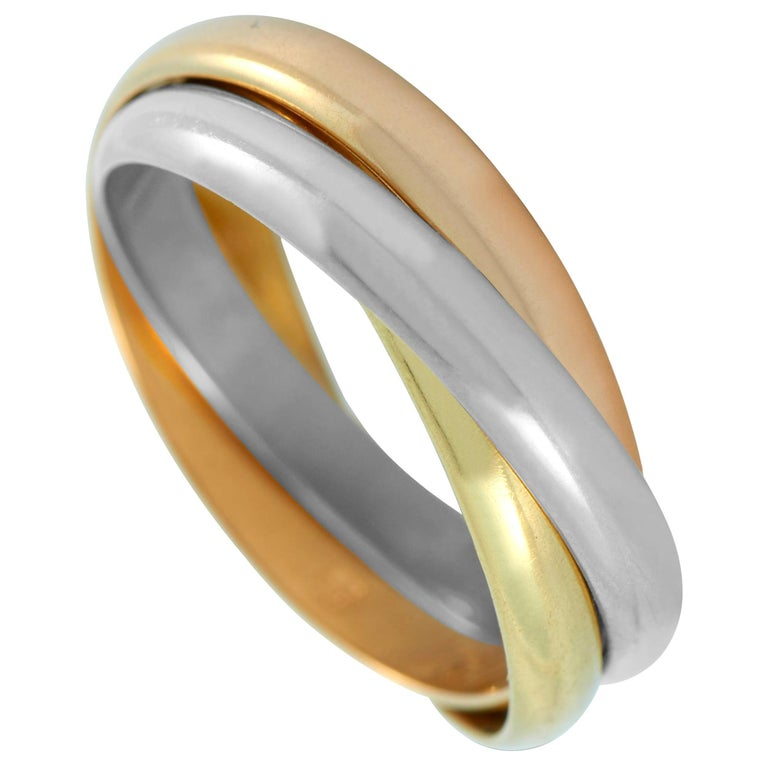Cartier Trinity 18 Karat Yellow, White and Rose Gold Ring For Sale