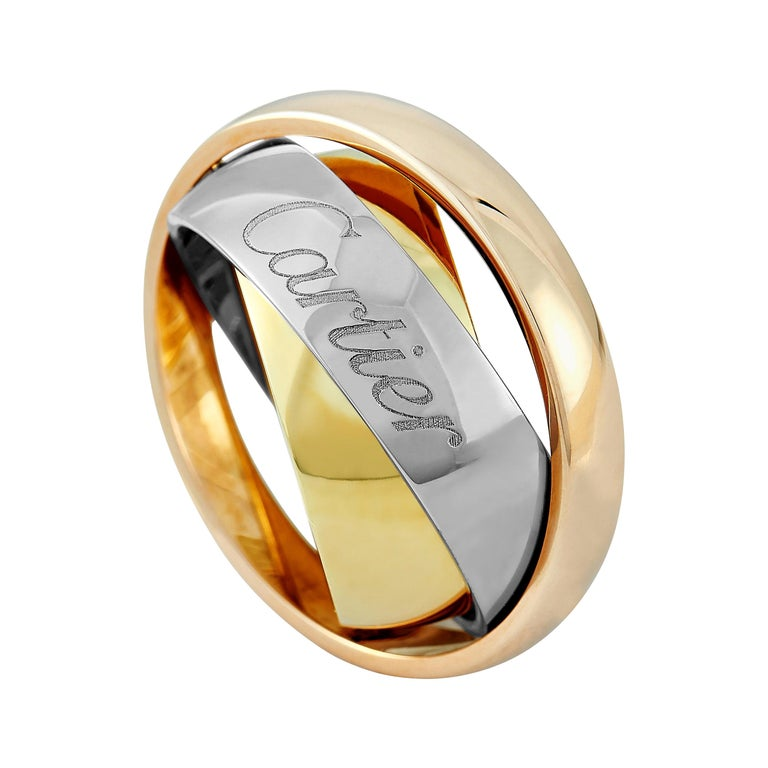 Cartier Trinity 18 Karat Yellow, White, and Rose Gold Ring For Sale