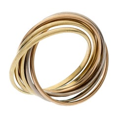 Cartier Trinity 18k Three Tone Gold 7 Band Rolling Ring Size 61