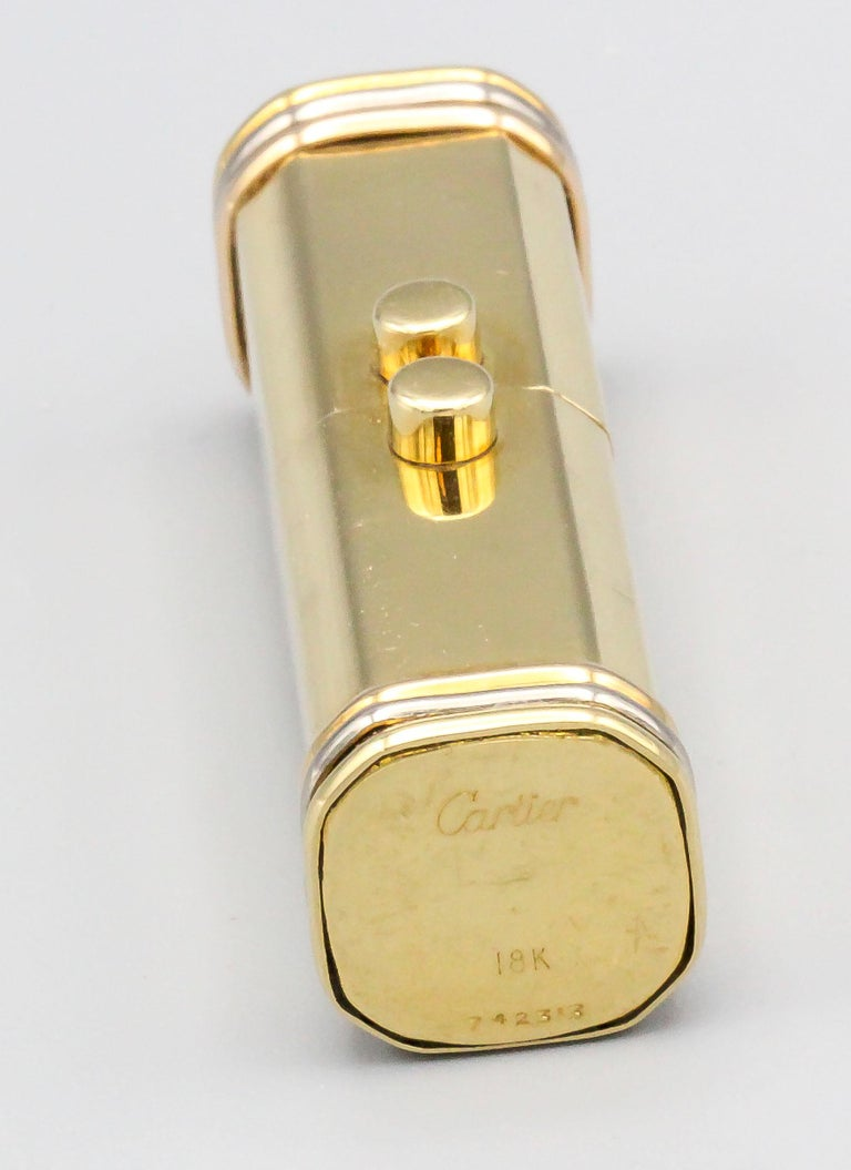 Cartier Trinity 18 Karat Tri-Color Gold Sliding Rectangular Pillbox In Good Condition For Sale In New York, NY