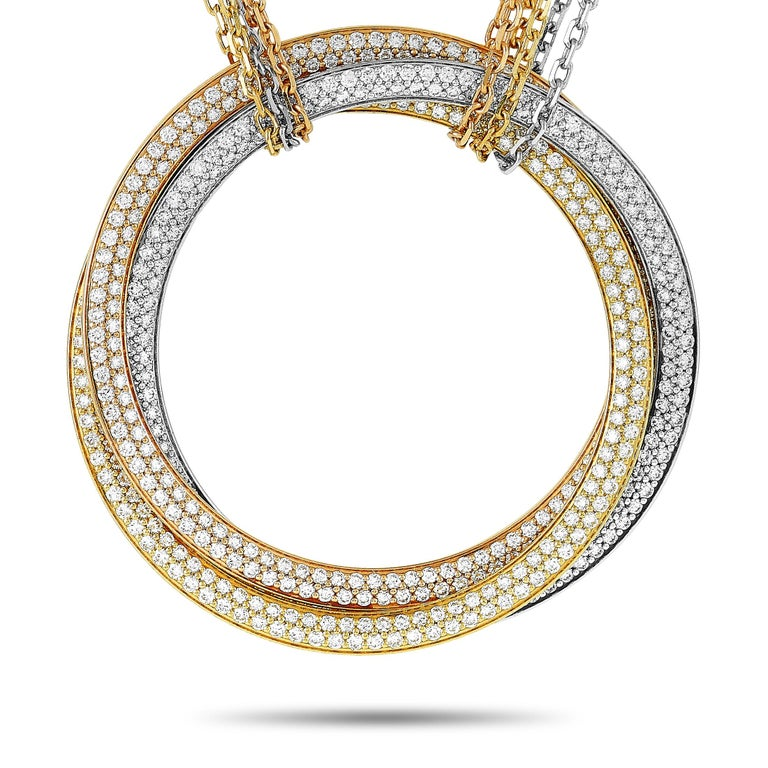 Cartier Trinity 18 Karat White, Yellow and Rose Gold Diamond Necklace In Excellent Condition For Sale In Southampton, PA