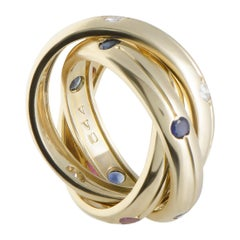 Cartier Trinity 18 Karat Gold Diamond, Sapphire and Ruby 3 Rolling Bands Ring