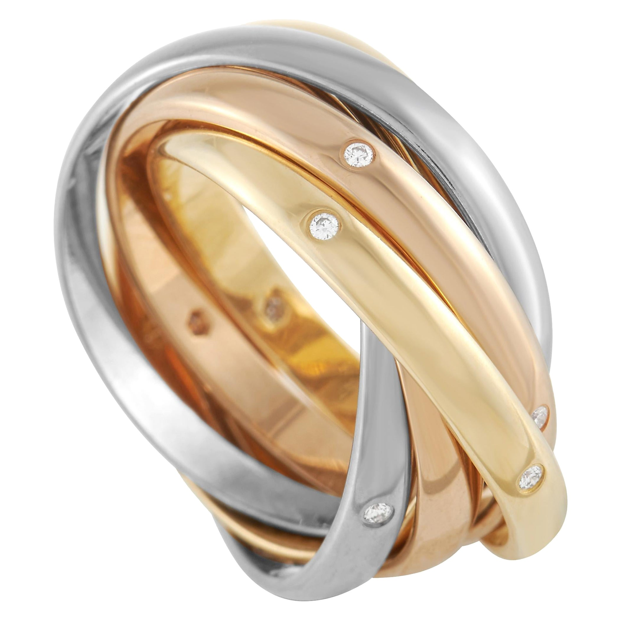 Cartier Trinity 18K Yellow, White and Rose Gold Diamond Ring