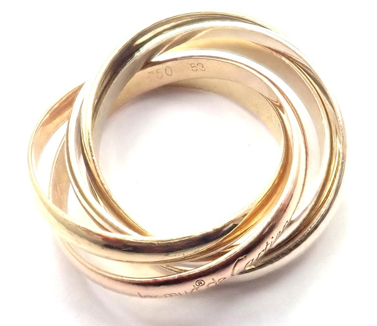 Cartier Trinity 5 Band Tricolor Gold Ring For Sale 7
