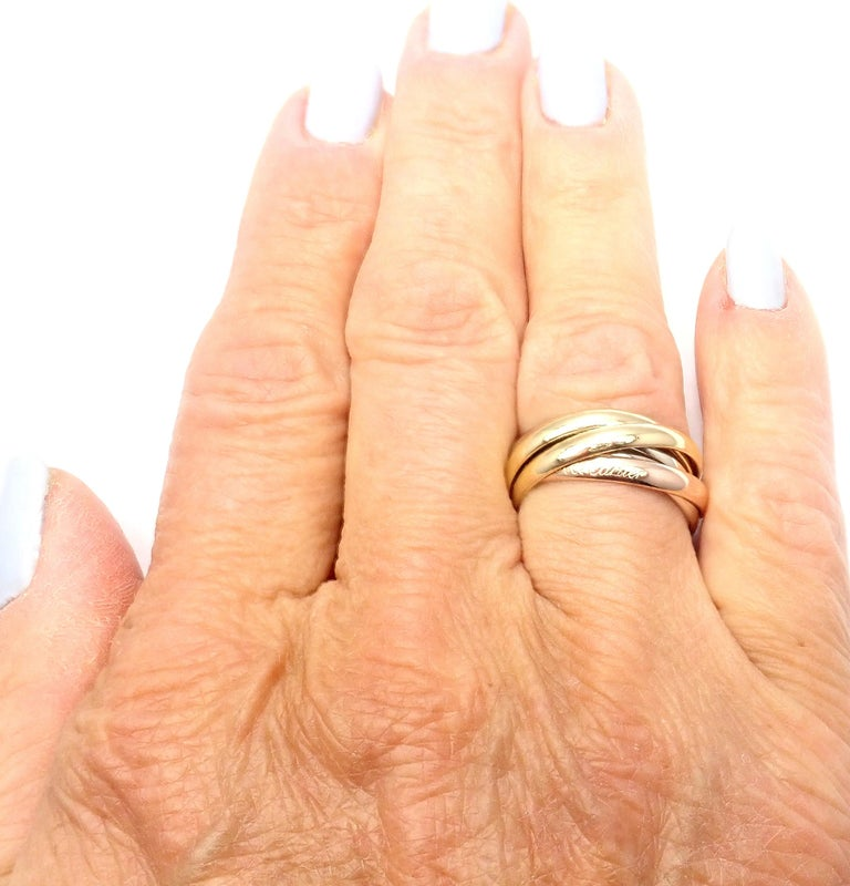 Cartier Trinity 5 Band Tricolor Gold Ring For Sale 8