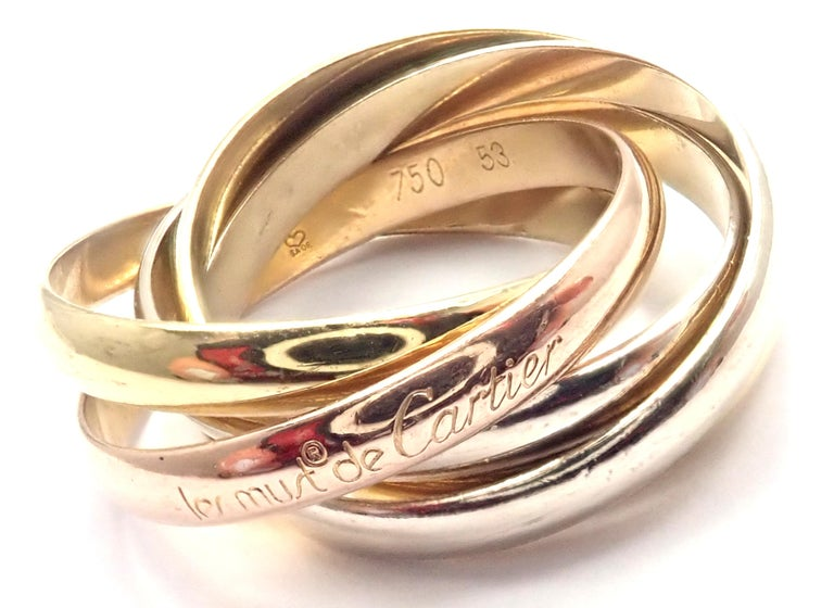 Cartier Trinity 5 Band Tricolor Gold Ring In Excellent Condition For Sale In Holland, PA