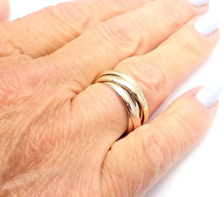 Women's or Men's Cartier Trinity 5 Band Tricolor Gold Ring For Sale