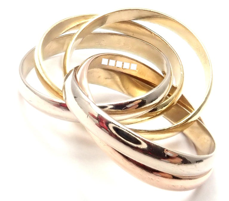 Cartier Trinity 5 Band Tricolor Gold Ring For Sale 1
