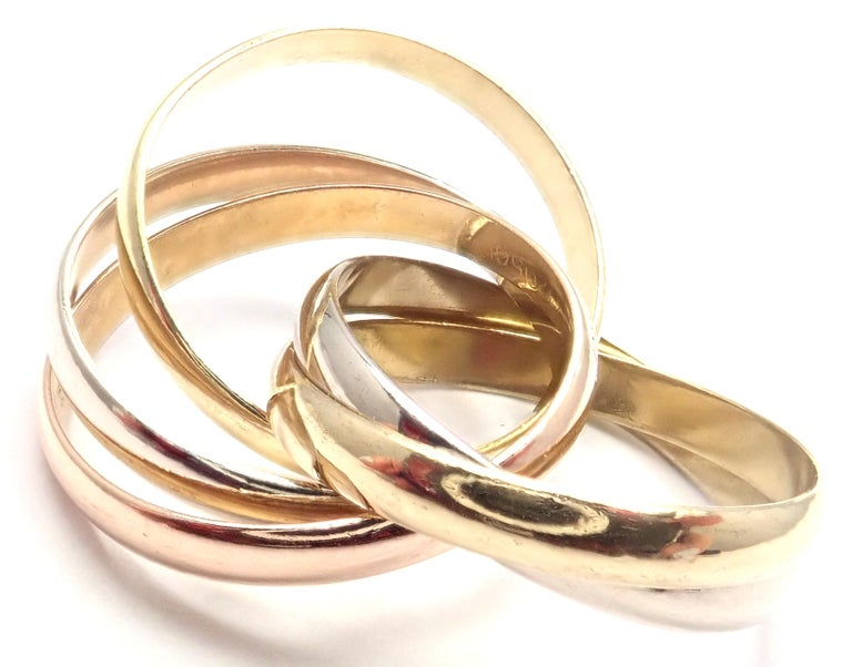 Cartier Trinity 5 Band Tricolor Gold Ring For Sale 2