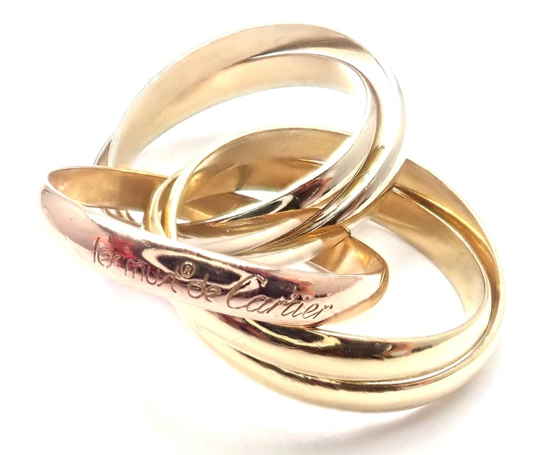 Cartier Trinity 5 Band Tricolor Gold Ring For Sale 3