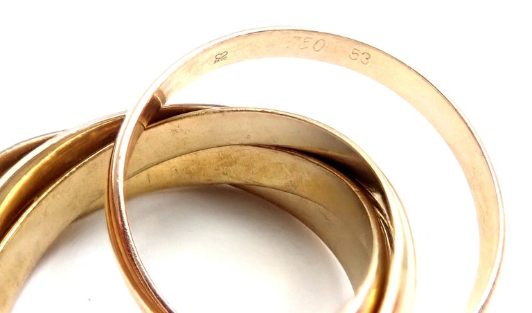 Cartier Trinity 5 Band Tricolor Gold Ring For Sale 4