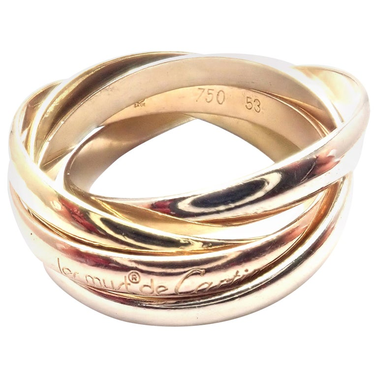 Cartier Trinity 5 Band Tricolor Gold Ring For Sale