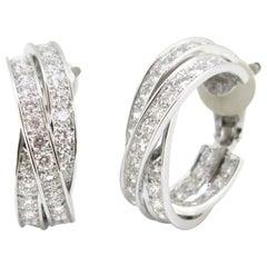 Cartier Trinity 5 Carat Diamonds White Gold Hoop Earrings