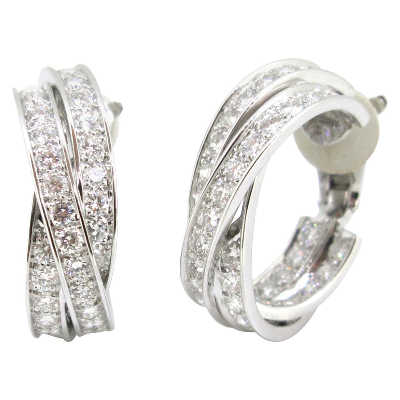 Cartier Trinity 6 Carat Diamonds White Gold Hoop Earrings