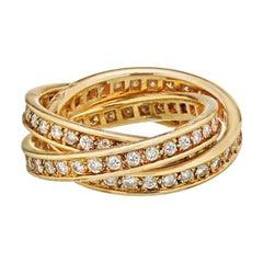 Cartier Trinity All Diamond Yellow Gold Ring