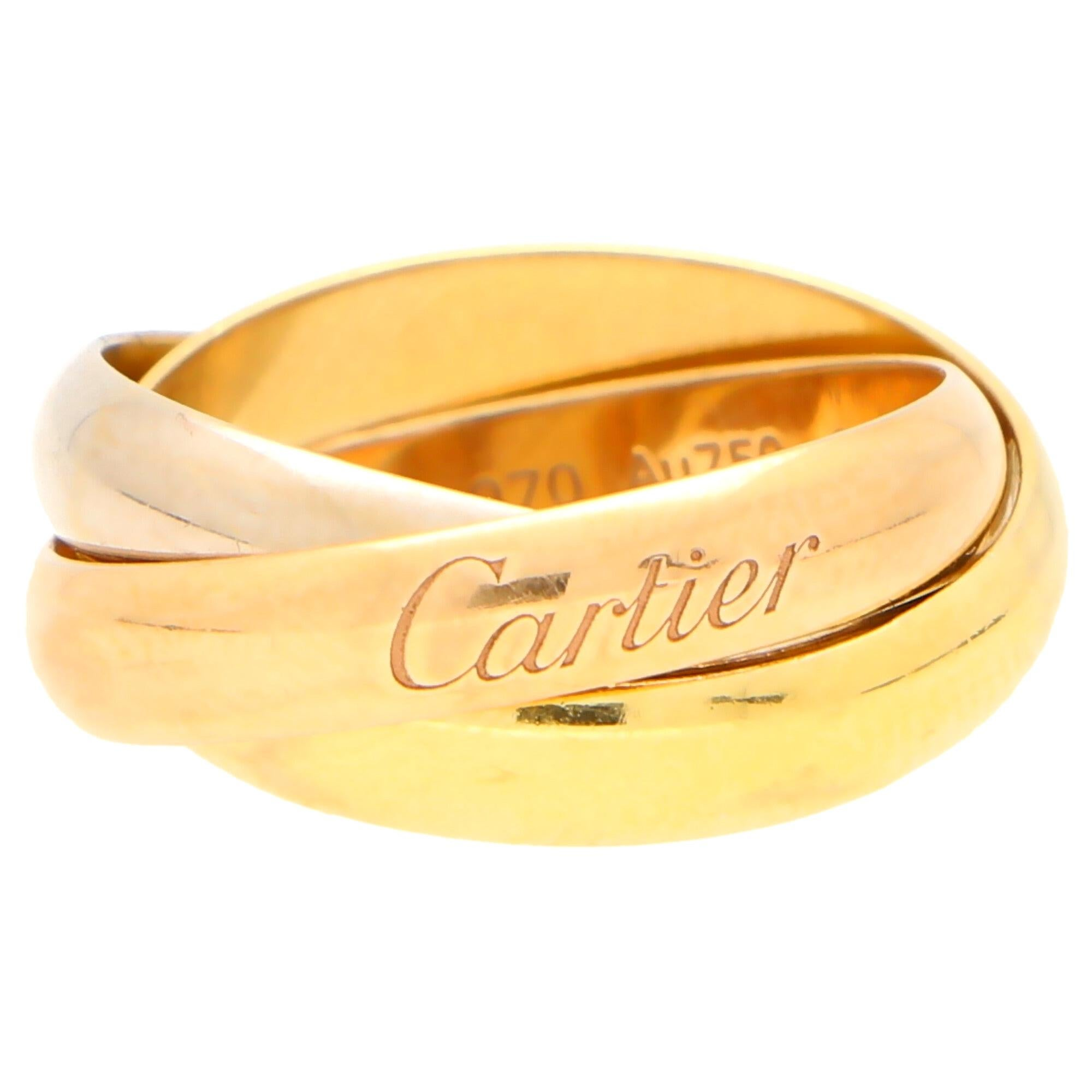 Cartier Trinity Band Ring Set in 18 Karat Yellow, Rose and White Gold