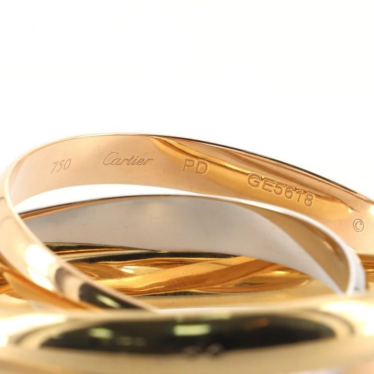 Cartier Trinity Bangle Bracelet 18k Tricolor Gold Large In Good Condition For Sale In New York, NY