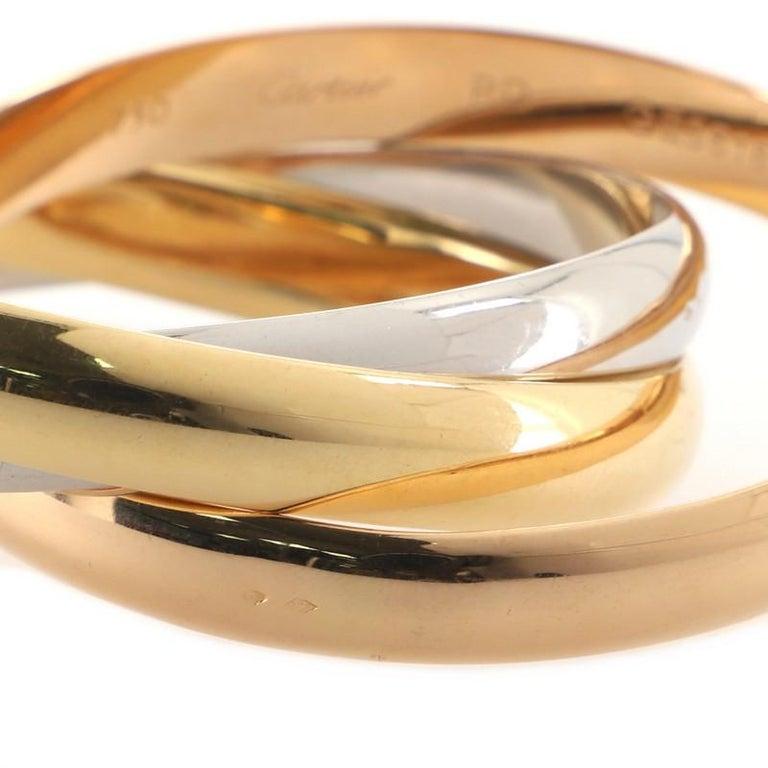 Women's or Men's Cartier Trinity Bangle Bracelet 18k Tricolor Gold Large For Sale