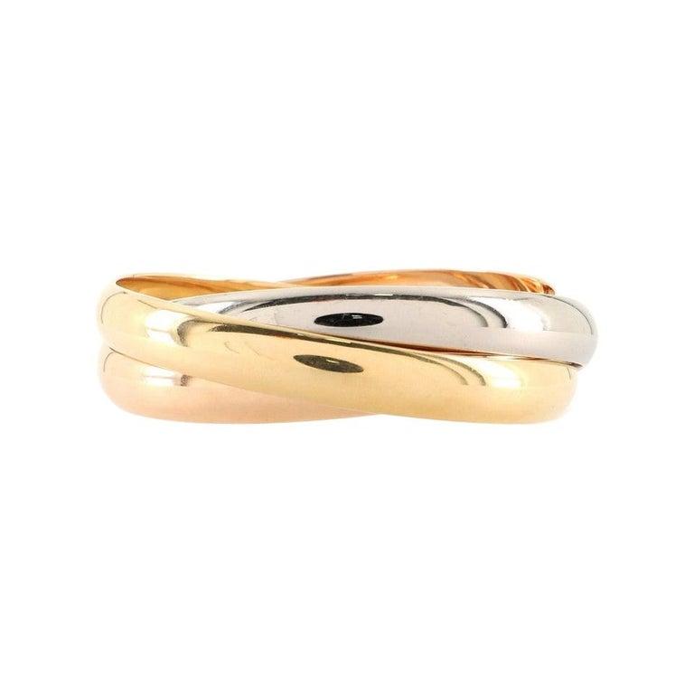 Cartier Trinity Bangle Bracelet 18k Tricolor Gold Large For Sale