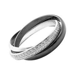 Cartier Trinity Ceramic Diamond Gold Platinum Band Ring