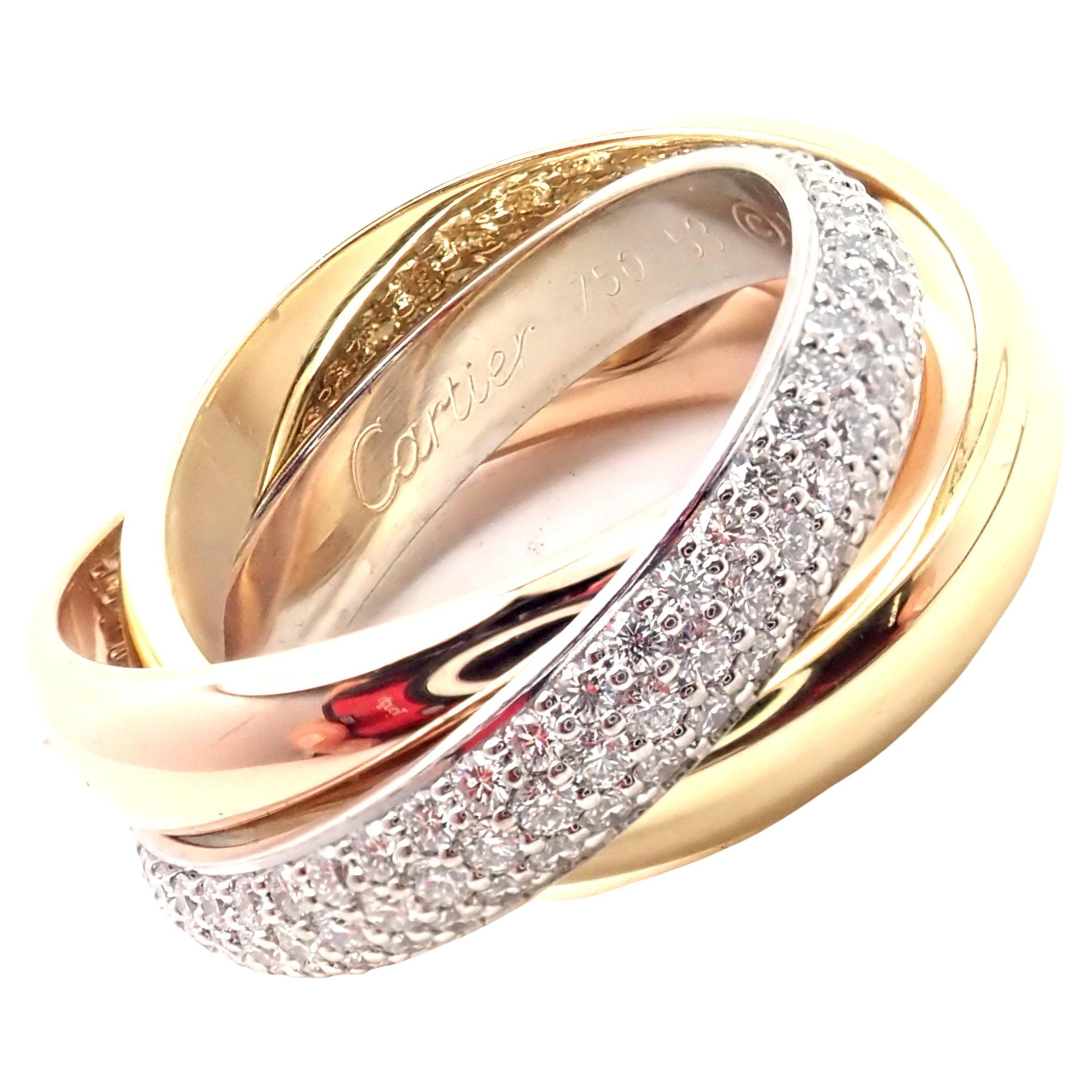 Cartier Trinity Classic Diamond White Yellow Rose Gold Band Ring