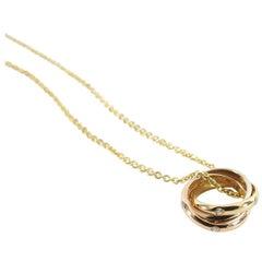 Cartier Trinity de 18k Tri-color Gold 15 Diamond Pendant Necklace