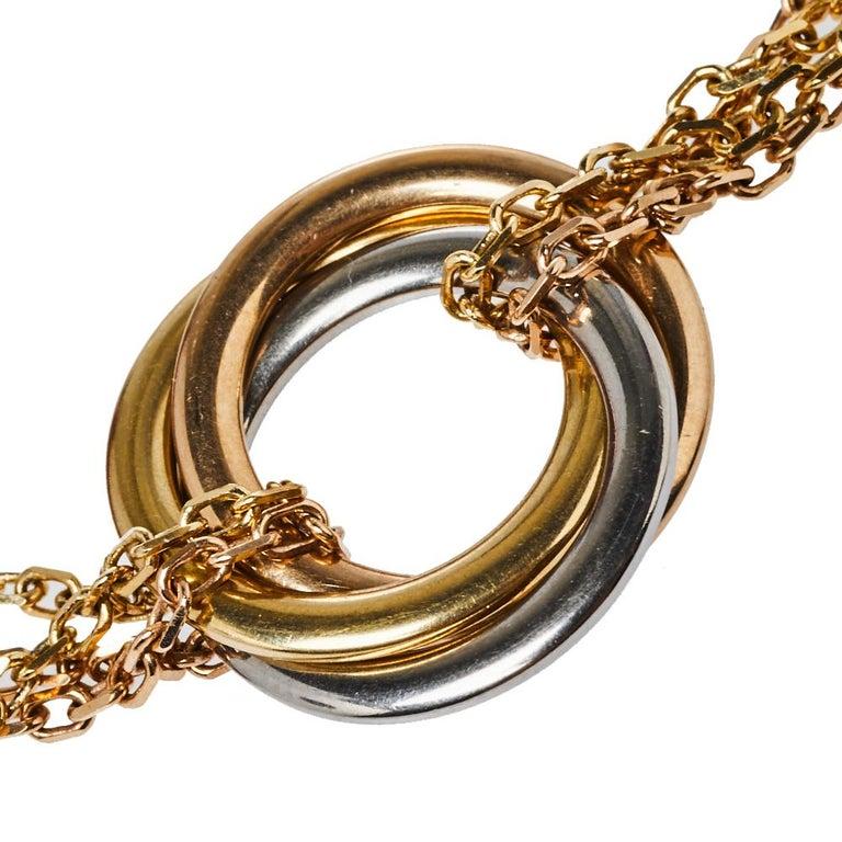 Contemporary Cartier Trinity de Cartier 18K Three Tone Gold Bracelet For Sale