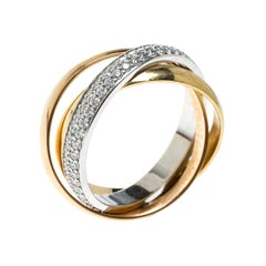 Cartier Trinity De Cartier Diamond & 18k Three Tone Gold Rolling Ring Size 48