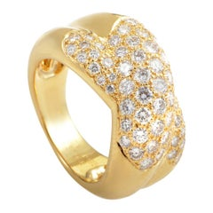 Cartier Trinity de Cartier Partial Diamond Pave Gold Band Ring