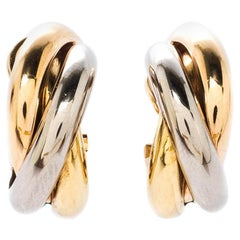 Cartier Trinity De Cartier Three Tone 18k Gold Hoop Earrings