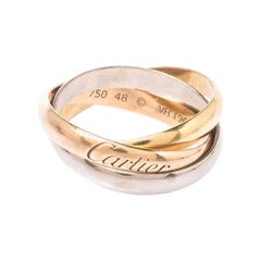 Cartier Trinity De Cartier Three Tone 18k Gold Rolling Band Ring Size 49