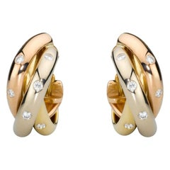 Cartier Trinity Diamond 18 Karat White, Pink, Yellow Gold Earrings