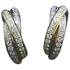 Cartier Trinity Diamond Earrings Tricolor 18 Karat White, Yellow and Rose Gold