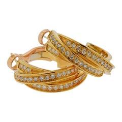 Cartier Trinity Diamond Gold Hoop Earrings