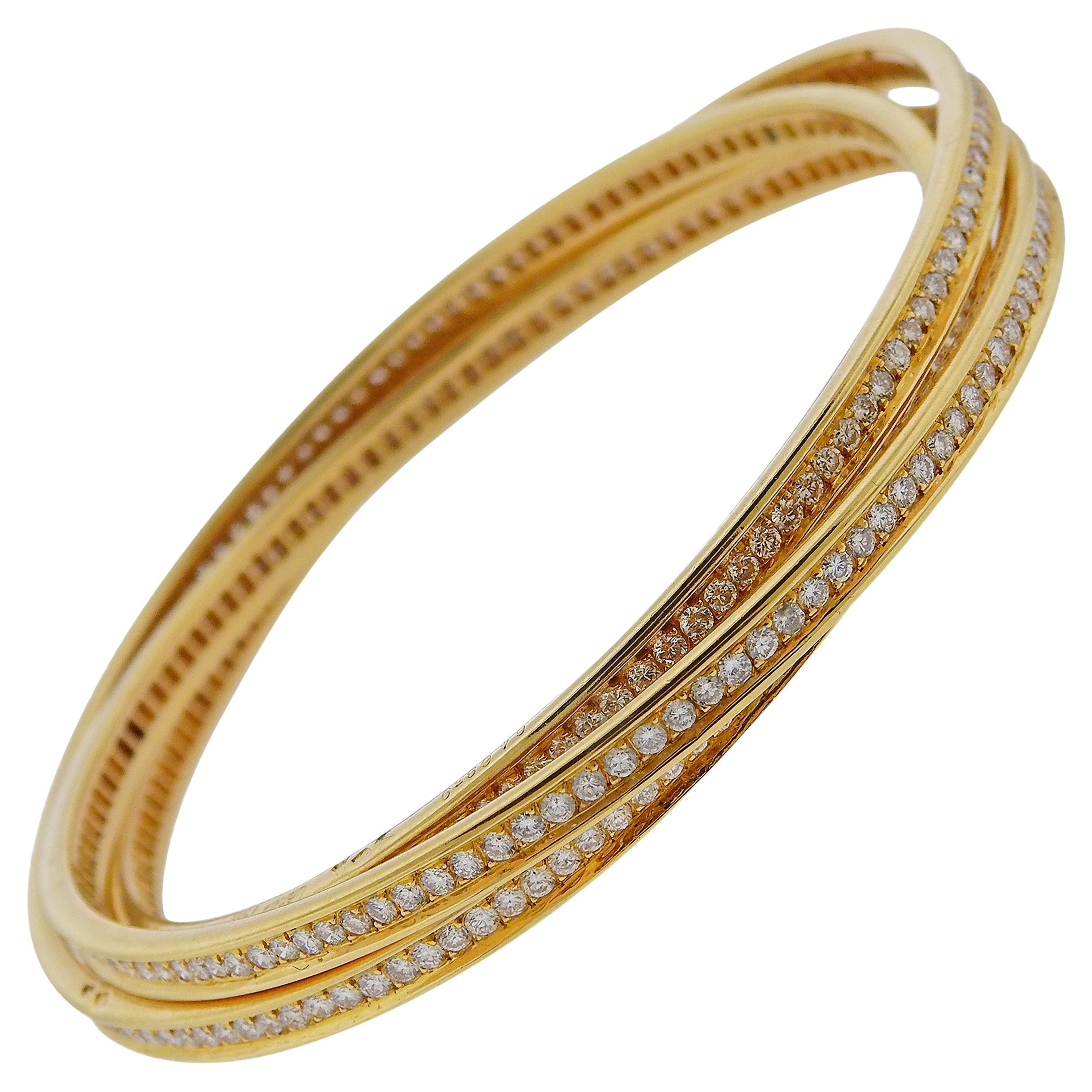 Cartier Trinity Diamond Gold Rolling Bangle Bracelet