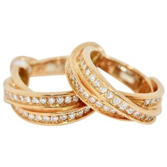 Cartier Trinity Diamond Hoop Earrings 18 Karat Gold