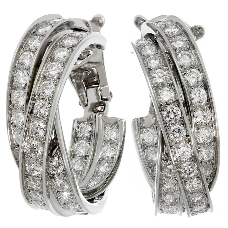 CARTIER Trinity Diamond Inside Out White Gold Large Earrings
