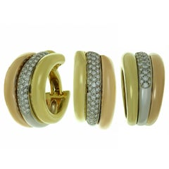 Cartier Trinity Diamond Multi-Tone Gold Large Earrings and Ring Set