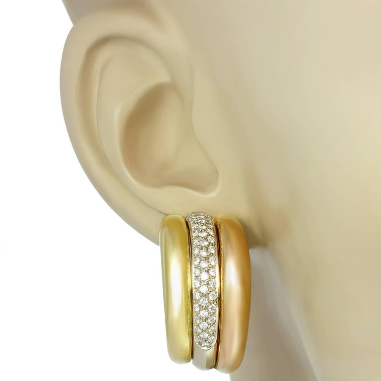 Women's Cartier Trinity Diamond Multi-Tone Gold Large Earrings For Sale