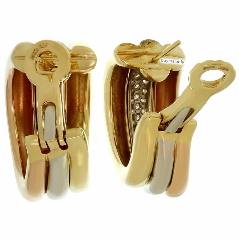 Cartier Trinity Diamond Multi-Tone Gold Large Earrings For Sale 1