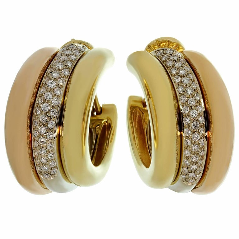 Cartier Trinity Diamond Multi-Tone Gold Large Earrings For Sale 2