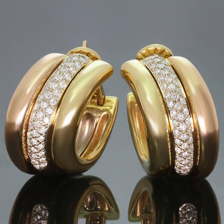 Cartier Trinity Diamond Multi-Tone Gold Large Earrings For Sale 3