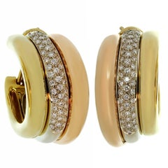 Cartier Trinity Diamond Multi-Tone Gold Large Earrings