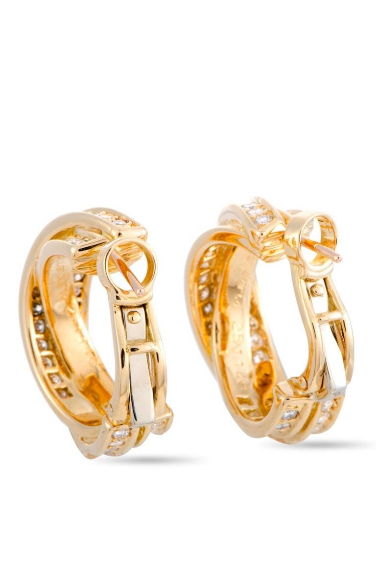 Round Cut Cartier Trinity Diamond Pave Crisscross Yellow Gold Huggie Omega Back Earrings For Sale