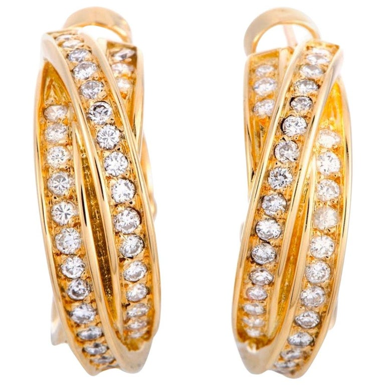 Cartier Trinity Diamond Pave Crisscross Yellow Gold Huggie Omega Back Earrings For Sale